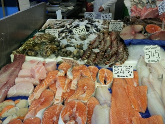 Beautifully presented fish stall in Granville Arcade, Brixton Market